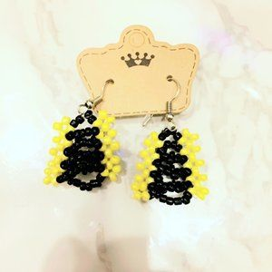 Yellow and Black Beaded Handmade Earrings